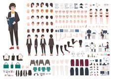 Free Secretary Woman Creation Set Or DIY Kit. Collection Of Female Cartoon Character Royalty Free Stock Image - 99674786