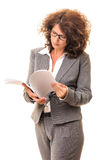 Secretary woman searching file sheets Stock Photography
