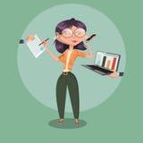 Secretary woman at work cartoon vector. Secretary woman at work. Cartoon colorful vector illustration Royalty Free Stock Image