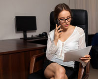Secretary works with documents Royalty Free Stock Photo
