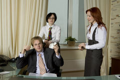 Secretarys console crying boss Stock Images