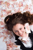 Secreteray met veel geld Stock Foto's