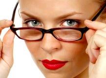 Secretery Removes her Glasses stock photography
