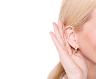 Secretly listen the gossip. Royalty Free Stock Image