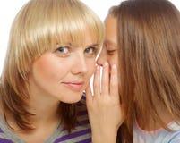 Secretos susurrantes de la chica joven en el oído de su mamá Fotos de archivo