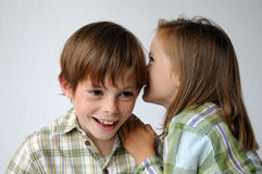 Secrets. Siblings  whispering secrets to each other Stock Photos