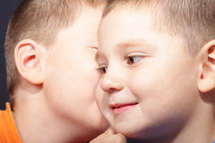 Secrets. Two boys sharing secrets closeup portrait Stock Image