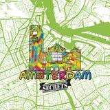 Secrets Art Map de voyage d'Amsterdam Photo stock