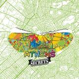 Secrets Art Map de voyage d'Athènes Images libres de droits