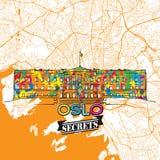 Secrets Art Map de voyage d'Oslo Photographie stock libre de droits