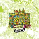 Secrets Art Map de voyage de Bucarest Image stock