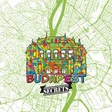 Secrets Art Map de voyage de Budapest Images libres de droits