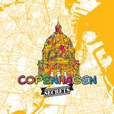 Secrets Art Map de voyage de Copenhague Photographie stock libre de droits