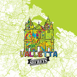 Secrets Art Map de voyage de La Valette Photographie stock