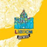 Secrets Art Map de voyage de Lisbonne Photos stock