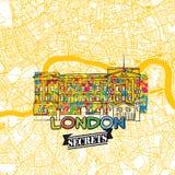 Secrets Art Map de voyage de Londres Images stock