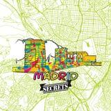 Secrets Art Map de voyage de Madrid Images libres de droits