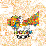 Secrets Art Map de voyage de Nicosie Photo stock