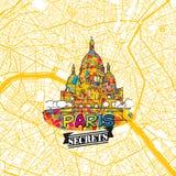 Secrets Art Map de voyage de Paris Photos libres de droits