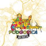 Secrets Art Map de voyage de Podgorica Photo stock