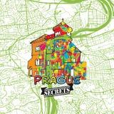 Secrets Art Map de voyage de Prague Image libre de droits