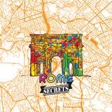 Secrets Art Map de voyage de Rome Photos stock