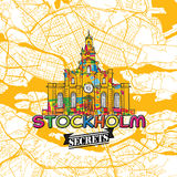Secrets Art Map de voyage de Stockholm Photo stock
