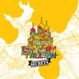 Secrets Art Map de voyage de Tallinn Photos libres de droits