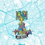 Secrets Art Map de voyage de Tirana Photographie stock libre de droits