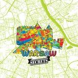 Secrets Art Map de voyage de Varsovie Photo stock