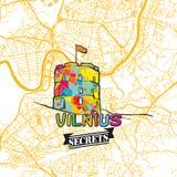 Secrets Art Map de voyage de Vilnius Image libre de droits