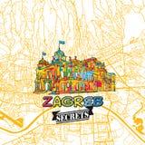 Secrets Art Map de voyage de Zagreb Photo libre de droits