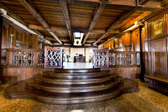 Secrets of Doge Palace. Solemn halls of Doges court. At the secret itineraries of Doge Palace. Venice, Italy royalty free stock photography