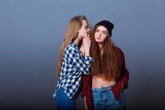 secrets heureux d'amies indiquant deux jeunes Fille Photos stock
