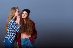 secrets heureux d'amies indiquant deux jeunes Fille Images libres de droits