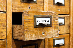 Secrets information concept. Opened box archive storage, filing cabinet interior. wooden boxes with index cards. library Stock Photography