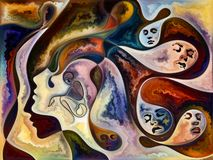 Secrets of Living Canvas. Inner Texture series. Visually pleasing composition of faces, colors, organic textures, flowing curves for works on inner world, love stock illustration