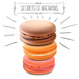 Secrets of Macarons. Vector Illustration Stock Images