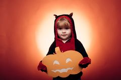 Little cute Boy wearing hallowwen carnival costumes. Halloween decoration and scary kids concept. Halloween background royalty free stock photo