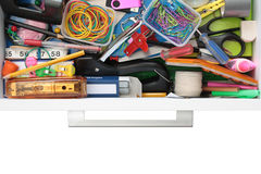 Secrets Of The Stationery Drawer Exposed On White Stock Photos
