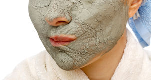 Secrets of skin firming facial mask Royalty Free Stock Photography