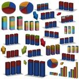 secteur 3D et diagrammes à barres Images stock