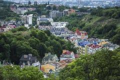 Secteur d'élite de Vozdvizhenka à Kiev, Ukraine Première vue sur les toits des constructions Photos libres de droits
