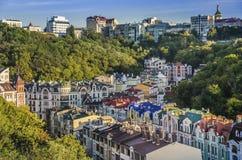 Secteur d'élite de Vozdvizhenka à Kiev, Ukraine Première vue sur les toits des constructions Image libre de droits