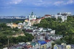 Secteur d'élite de Vozdvizhenka à Kiev, Ukraine Première vue sur les toits des constructions Photo libre de droits