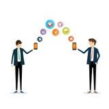 Secteur d'affaires de la téléphonie mobile sur la ligne concept de milieux de vecteur de transaction illustration de vecteur