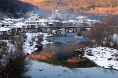Secteur d'Asenov de Veliko Tarnovo pendant l'hiver Photos libres de droits