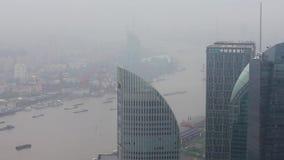 Secteur de Changha? Lujiazui et fleuve Huangpu financiers, Changha?, Chine banque de vidéos