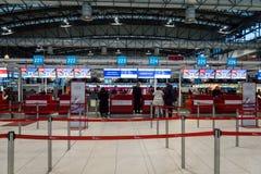 Secteur de comptoir d'enregistrement de Czech Airlines à Prague Vaclav Havel Airport Photo stock