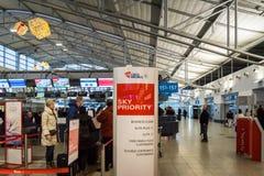 Secteur de comptoir d'enregistrement de Czech Airlines à Prague Vaclav Havel Airport Photographie stock
